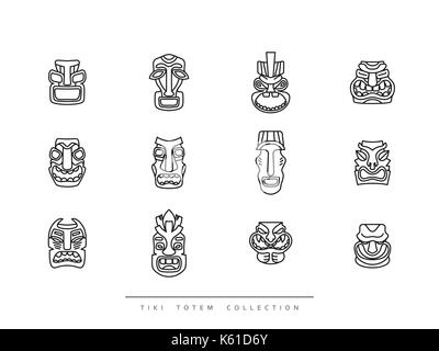 Collection Tiki Totem in linear style vector illustration - Stock Photo