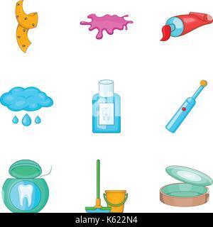 House personal hygiene icon set, cartoon style - Stock Photo