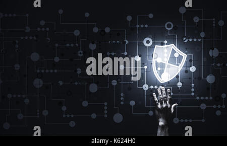 Blue shield icon as symbol of access protection on dark backgrou - Stock Photo