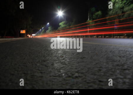 Light trails at Canal Road, Lahore, Pakistan - Stock Photo
