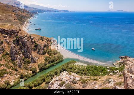 Aerial view of Preveli palm beach and lagoon near Rethymno in Crete,  Greece, Mediterranean - Stock Photo