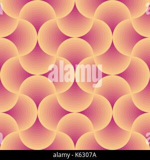 retro circular orange and red seamless vector pattern - Stock Photo