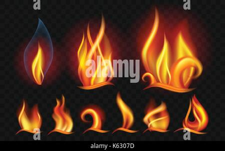 Set of flames - modern vector realistic isolated clip art on transparent background. Burning big,small orange, yellow, - Stock Photo