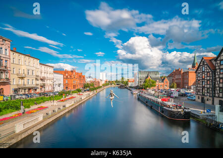 Bydgoszcz, Poland -  August 2017 : The tightrope walker sculpture over the River Brda - Stock Photo