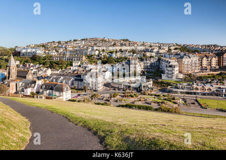 17 June 2017: Ilfracombe, North Devon, England, UK - A view over the town from Capstone Hill. - Stock Photo
