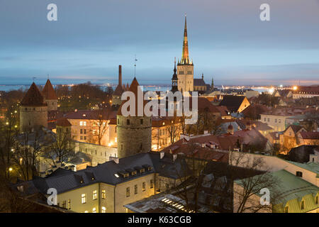 View over the Old Town with the towers of the City Walls and Oleviste Church from Patkuli Viewing Platform, Old - Stock Photo