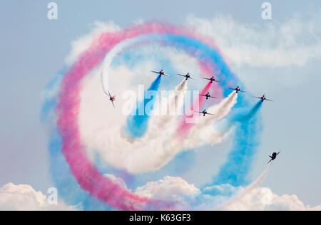 Red Arrows display team at Bournemouth Air Festival, 2017 - Stock Photo