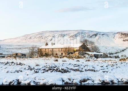 The Abandoned Farmstead of Wheysike House with Cronkley Fell Behind, Forest-in-Teesdale, County Durham UK - Stock Photo