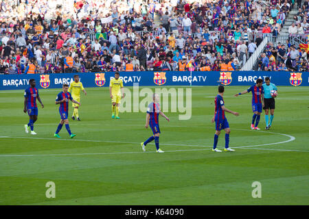 Barcelona players at end of match  - 6/5/17 Barcelona v Villarreal football league match at the Camp Nou stadium, - Stock Photo