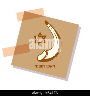 festive sticker with the image of shafar and the star of David. Greeting text Shana tova on Hebrew - Have a sweet - Stock Photo