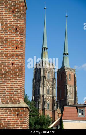 Gothic Archikatedra Sw. Jana Chrzciciela (Cathedral of St. John the Baptist) on Ostrow Tumski (Cathedral Island) - Stock Photo