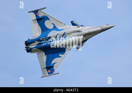 French Air Force Rafale displaying at Duxford during the May 2017 air show. Note the one off display scheme. - Stock Photo