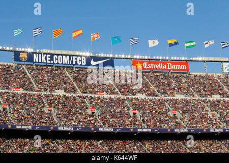 Fans at the Camp Nou stadium, Barcelona - 6/5/17 Barcelona v Villarreal football league match. - Stock Photo