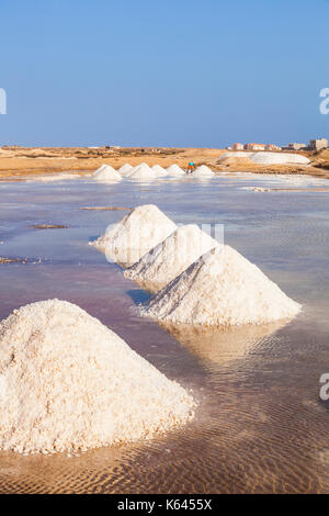 CAPE VERDE SAL Piles of salt collected from natural salt pans at Salinas, just outside Santa Maria, Sal island, - Stock Photo