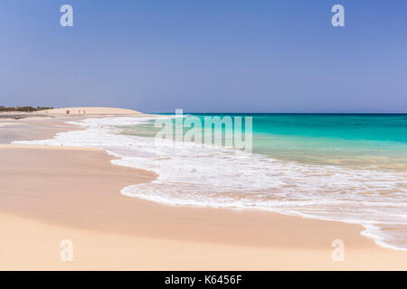 CAPE VERDE SAL Empty beach scene -  the emptiness of the white sand and blue sea at Ponta Preta beach near santa - Stock Photo
