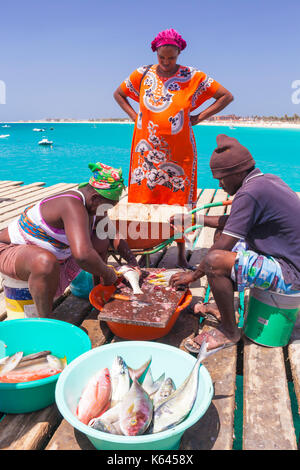 CAPE VERDE SAL Local people scaling and gutting freshly caught fish ready for selling on the wooden pier in Santa - Stock Photo
