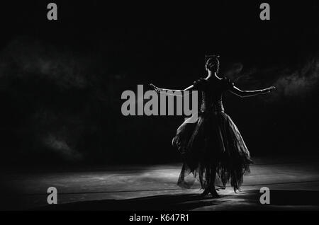 Light silhouette of elegant young ballerina standing back to camera in second position arms pose on the black background - Stock Photo