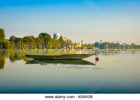 Old boat on Saone's river, Villefranche sur Saone, France - Stock Photo