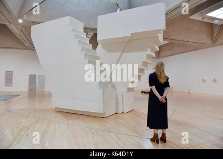London, UK. 11th Sep, 2017. A staff member views 'Untitled (Stairs)', 2001, at the preview of an exhibition featuring - Stock Photo