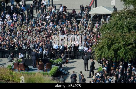 Arlington, United States Of America. 11th Sep, 2017. U.S President Donald Trump addresses a ceremony commemorating - Stock Photo
