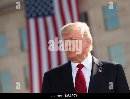 Arlington, United States Of America. 11th Sep, 2017. U.S President Donald Trump during the ceremony commemorating - Stock Photo