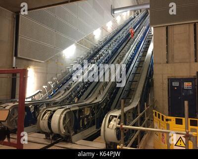 London, UK. 15th Feb, 2017. The new metro station Tottenham Court Road receives new escalators in London, England, - Stock Photo