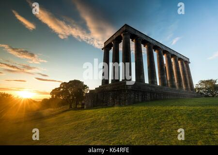Edinburgh, Scotland, UK. 12th Sep, 2017. Sunrise taken of the National Monument of Scotland from Calton Hill in - Stock Photo