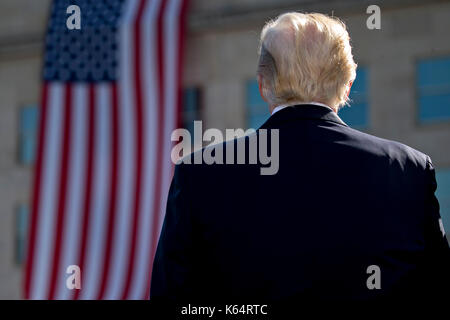 Washington DC, USA. 11th Sep, 2017. United States President Donald J. Trump pauses during a ceremony to commemorate - Stock Photo