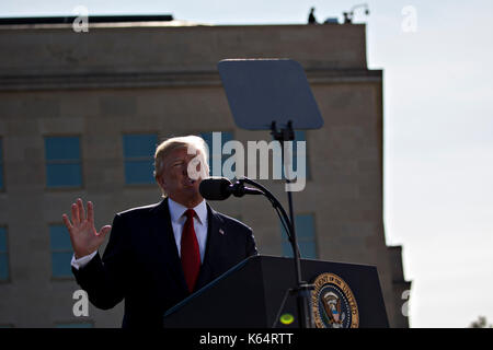 Washington DC, USA. 11th Sep, 2017. United States President Donald J. Trump speaks during a ceremony to commemorate - Stock Photo