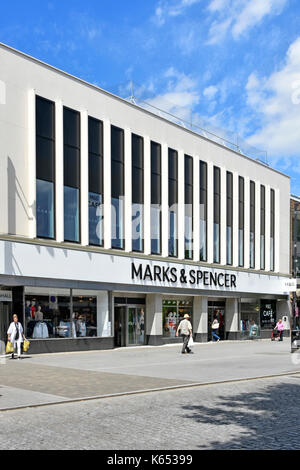 Marks & Spencer high street store refurbished front facade & interior improvements new upper sales floor added with - Stock Photo