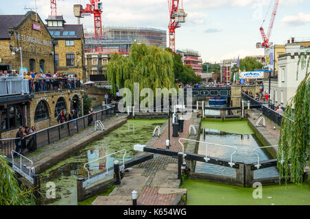 Hampstead Road Lock in Camden MArket on the Regent's Canal in London. - Stock Photo