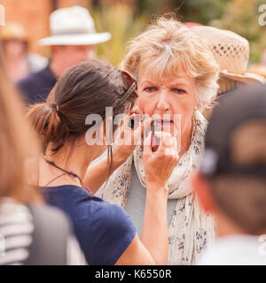 Penelope Keith filming Hidden Villages at the village fete in Walberswick , Suffolk , England , Britain , Uk - Stock Photo