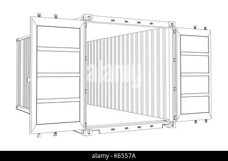 Open Empty Cargo Container. Wire-frame style Stock Photo: 178238293 ...