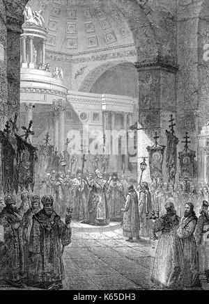Photios I, c.  810 – c. 893, the Ecumenical Patriarch of Constantinople, at the Hagia Sophia, Turkey, 9th century - Stock Photo