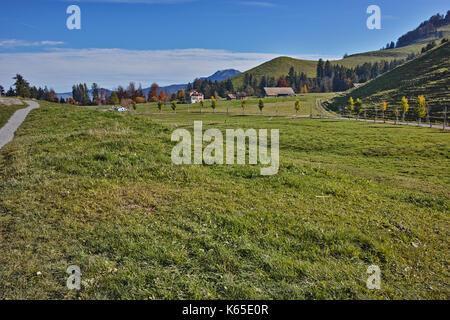Amazing panorama near mount Rigi, Alps, Switzerland - Stock Photo