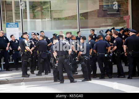 Policemen in Preparation for New York Gay Pride 2017 in Greenwich Village, NYC - USA - Stock Photo