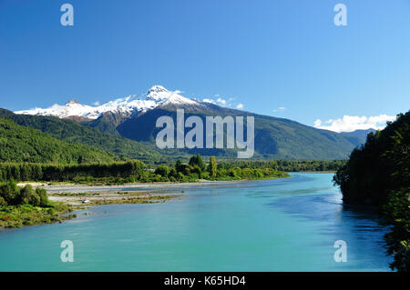 Yate volcano in Chile, Patagonia, seen on a road trip on Carretera Austral - Stock Photo