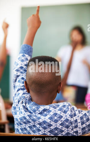 Back view of boy raising hand at an elementary school lesson - Stock Photo