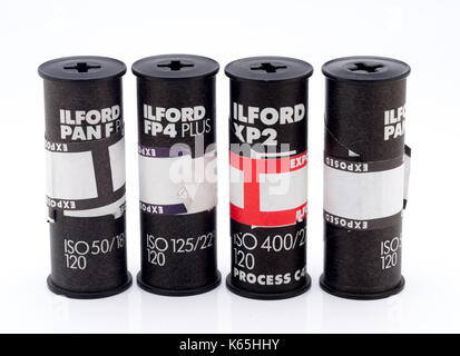 Rolls of Ilford 120 Medium Format Black and White Film, Ilford Photo is a UK photographic company founded in 1879. - Stock Photo