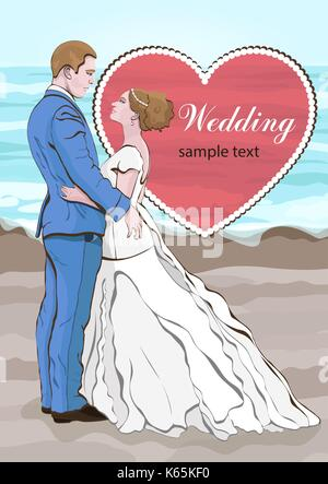 Bride and groom cartoon vector, wedding invitation, card. Couple in love hugging, dressed in a wedding dress and - Stock Photo
