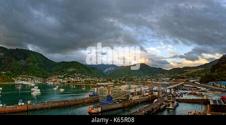 Port of Picton in the morning, Marlborough Sounds, South Island, New Zealand - Stock Photo