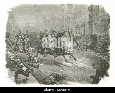 French coup d'état of 1851, lancers charging the crowd in the boulevards of Paris - Stock Photo