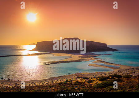 Amazing view of Balos Lagoon with magical turquoise waters, lagoons, tropical beaches of pure white sand and Gramvousa - Stock Photo