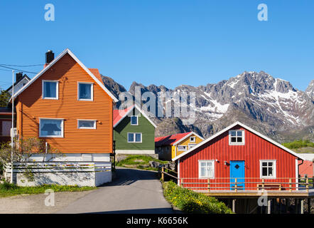 Typical colourful Norwegian architecture wooden houses in Henningsvaer, Austvågøya Island, Lofoten Islands, Nordland, - Stock Photo
