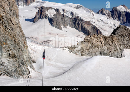 The Panoramic Mont Blanc Cable car from Aiguille du Midi in France on its way to Point Helbronner, Italy - Stock Photo