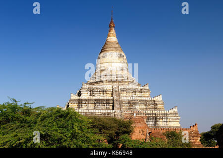 Bagan,Shwesandaw Paya Temple, the most important temple in Bagan, Myanmar - Stock Photo