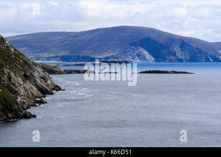 Rugged coastline at Keem Bay on Achill Island, County Mayo, Republic of Ireland - Stock Photo