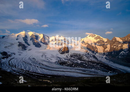 Aerial view on the snow covered mountains Piz Palü, Piz Bernina and Piz Morteratsch from Diavolezza - Stock Photo