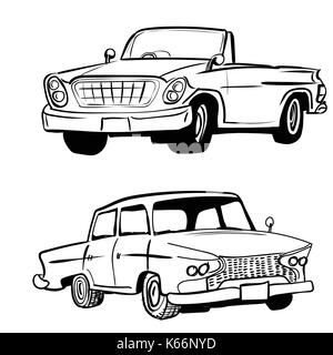 Hand drawn sketch of classic car, vintage car, transport or vehicle design. Vector Illustration - Stock Photo