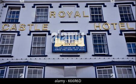 Royal Castle Hotel. Dartmouth, Devon, England, a town and civil parish.  A tourist destination  on the western bank - Stock Photo
